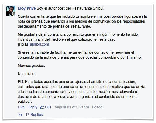 Eloy Prive responde a Risto Mejide. Restaurante Shibui