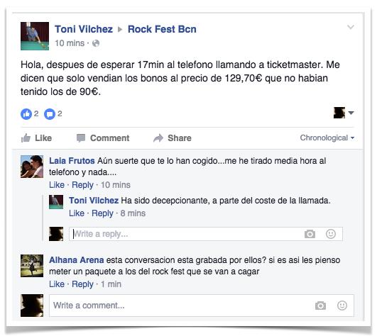 Crisis de reputación Online Rock Fest Barcelona