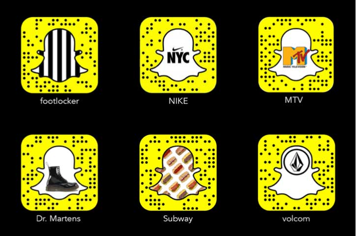 ejemplos de snapcodes de marcas y empresas