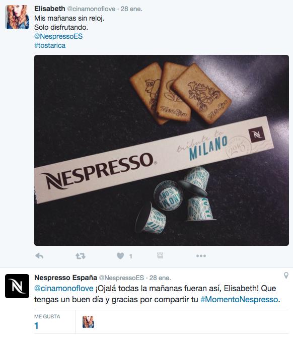 Ejemplo de embajadores y defensores de marca Nespresso