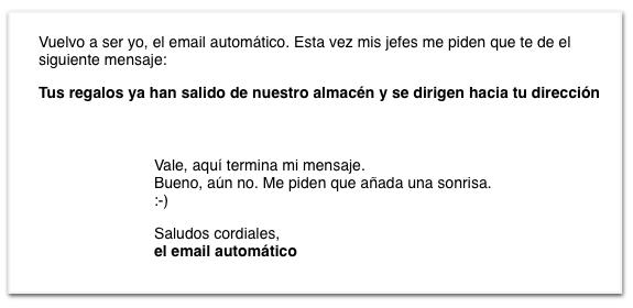 La sonrisa del correo de el Regalador es una experiencia de usuario muy buena