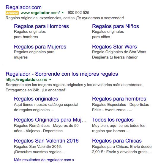 El Ecommerece el Regalador en la primera página de Google