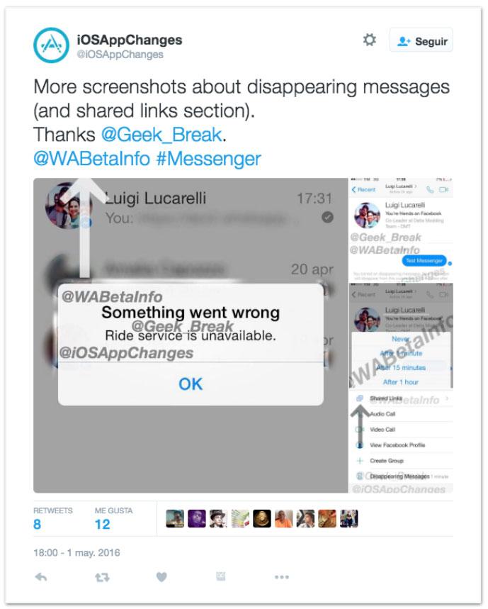 Mensajes de Facebook Messenger que se autodestruyen igual que Snapchat